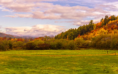 Route 26, Misty Mountains Panorama2 (Cindy Farr-Weinfeld) Tags: morning autumn light sky sun sunlight fall leaves clouds season dawn early seasonal maine western autumnal