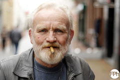 The cigar man (Frankhuizen Photography) Tags: street portrait white man netherlands hair beard photography fotografie posed cigar portret straat the 2015 weert geposeerd