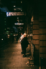 Hold On To Your Hats! (Robert Bosson) Tags: 35mmfilm fujifilm theatreland candidstreetshot shaftsburyavenuelondon pentaxespiofilmcamera