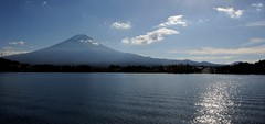 Mount Fuji across lake Kawaguchi (Jez B) Tags: sunlight lake water japan landscape ripples kawaguchi 2015