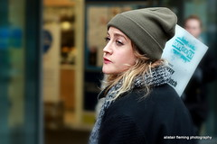 09-IMG_8577 Street Candid (marinbiker 1961) Tags: street candid glasgow2016 hat girl female black outdoor depthoffield people
