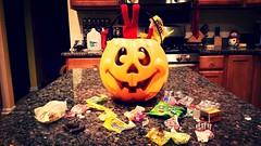 I Know It's Not Halloween! (Holly The Elf) Tags: santa christmas holiday halloween pumpkin december candy jackolantern treats north samsung pole elf santaclaus stnick 2015 elfontheshelf hollytheelf