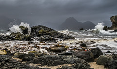 Stormy Cuillins (don't count the pixels) Tags: scotland canong5x canon sea storm skye isleofskye highlands elgol cuillins cuillinmountains mountains waves sky