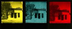 down the street (a perhaps hand) Tags: polaroidlandcamera polaroidsx70 polaroid600 instantcamera theimpossibleproject duochromefilm instantfilm oldhouse abandoned newmexico