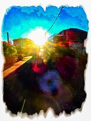 1.3m (Steve Taylor (Photography)) Tags: 13m bulbs art digital architecture building light lightbulb lamp blue black yellow white orange newzealand nz southisland canterbury christchurch cbd city perspective vignette texture glare glow autumn sunny sun sunshine sky sunrise