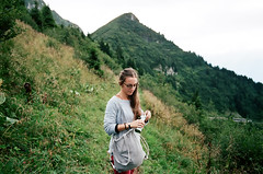 Nadia (Kathleen Vtr) Tags: friend person woman hikingday hike portrait mountain green nature wild explore switzerland swissalps alps life discover greysky deep darkgreen analog film 35mm photography landscape canon