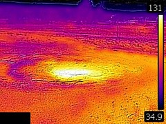 Thermal image of Churn Geyser (late afternoon, 11 August 2016) (James St. John) Tags: churn geyser sawmill group upper basin yellowstone hotspot volcano wyoming geysers hot spring springs thermal image temperature