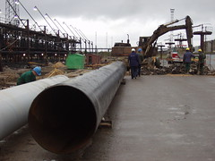 New pipes-1 (algimantas_tirlikas) Tags: building chimney construction crane montage mounter pipeline pipes rafinery workman work outdoor