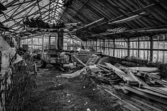 Inside abandoned greenhouse (Terje Helberg Photography) Tags: abandoned brokenglass creepy decay greenhouse neglected old scary spooky unattended urbex monochrome trash broken glass debris bw bnw hordaland bergen samsung nx nx30