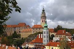 View of esky Krumlov 01 (smilla4) Tags: medievalcity tower castle ceskykrumlov rozemberk rosenberg sky clouds czechrepublic southbohemia