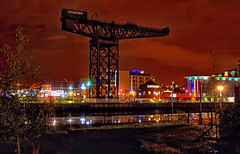 finnieston crane (Duncan the road rebel) Tags: crane glasgow finniestoncrane glasgowfinniestoncrane landmark nightscene nightshoot night dusk dawn scotland scottish street urban streetlight illuminating illuminate illumination lights light finnieston streetlights manmade structure manmadestructure sky clydeport orange red green blue