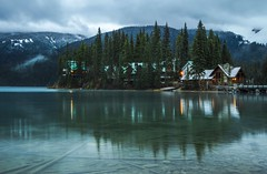 Autumn Dusk in the Rockies (corybeatty) Tags: canada alberta rockies rocky mountains mountain landscape nature light beauty trees clouds emerald lake lodge reflection clear cabin hotel cloud cloudscape autumn fall winter snow