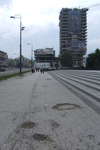 Damaged pavement and construction of Sarajevo City Center, 27.05.2012.