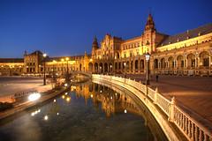Seville Blue Hour (hapulcu) Tags: plazadeespaa bluehour andalucia andalusia espagne espanha espaa spagna spain dusk