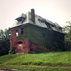 Fout House, St. Louis (deatonstreet) Tags: abandoned 120 film overgrown architecture kodak stlouis ivy historic missouri 100 automat flexaret ektar vandeventer