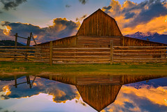 Jackson Hole Moulton Barn Reflection (Jerry T Patterson) Tags: camping sunset camp ski barn sunrise skiing hiking hike nationalforest nationalparks jacksonhole moulton tnp jacksonwyoming gtnp mormonrow jacksonholewy antelopeflats moultonbarn mormonrowroad