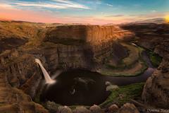 Mighty Palouse Falls (co photo gal) Tags: sunset summer cliff river landscape waterfall washington rocks canyon falls cliffs palouse 2015