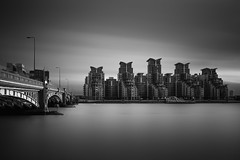 Standing to Attention (TS446Photo) Tags: camera city uk longexposure bridge england sky blackandwhite bw white black london water thames architecture club clouds buildings river photography grey mono high nikon britain tide fineart smooth flats le wharf nd dslr filters stgeorge complex vauxhall mi6 monocrome mi5 d600 1835mm nikon1835mm 10stop nikond600 6stop ts446 16stop wwwlondonfineartphotographycouk