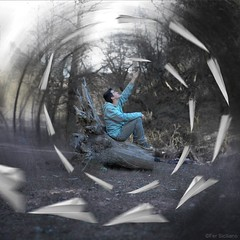 35/52 Paper Dreams (Fer Siciliano) Tags: boy forest photoshop paper fly fantastic edited magic surreal bosque planes chico conceptual magico paperplanes