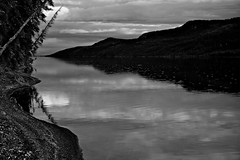 Evening Drizzle at Big Fox Lake (MIKOFOX  Show Your EXIF!) Tags: canada blackandwhite bigfoxlake noir fujifilmxt1 august yukon water spruce monochrome shoreline landscape hills xt1 bw showyourexif mikofox summer reflection xf18135mmf3556rlmoiswr