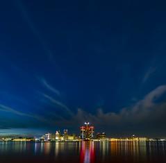 Stars over Detroit (Notkalvin) Tags: detroit mikekline notkalvin notkalvinphotography outdoor skyline city rencen renaissancecenter architecture dusk night bluehour goldenhour longexposure detroitriver windsor michigan fromcanada lights water shore