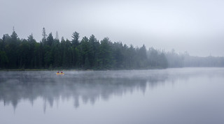 Canoeing through the mist