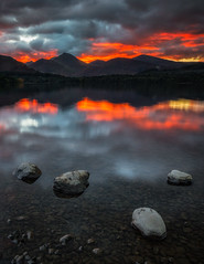 Derwent Fire (Vemsteroo) Tags: sunset derwentwater evening dusk dramatic derwent mountains catbells longexposure tiltshift 24mm pano lakedistrict cumbria outdoors heroshot drama epic beautiful glorious exploring travel canon 5d mkiii 24mmtse cloudy weather nature lake reflection waterscape landscape