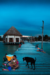 Dock (Luis Montemayor) Tags: dock holbox muelle dog perro kid nia toys juguetes sunset atardecer cloudy nubloso beach playa mexico