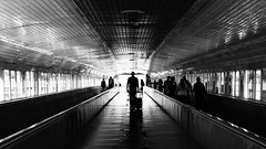 Bon viatge! (lluiscn) Tags: aeroport barcelona bcn airport aeropuerto puente tnel cam viatges passatger pasajeros viajeros prat t2 terminal llum sombra ombres ombra sombras shadows light bn bw monochrome