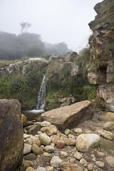Waterfall at Hayburn Wyke (Keartona) Tags: northyorkshire hayburnwyke landscape england english coast misty stream waterfall rocks beach mysterious