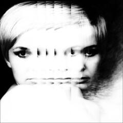 her face in the mirror (j.p.yef) Tags: peterfey jpyef yef irene portrait mirror bw sw digitalart bestportraitsaoi