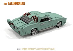 The Bradley Californian - 1969 (lego911) Tags: bradley californian 1969 classic custom mod auto car moc model miniland lego lego911 ldd render cad povray 1960s harry lugnuts challenge 108 9th birthday lugnutsturnnine turns nine by random appointment 38 usa america oldsmobile toronado coupe v8