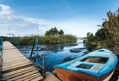 Scapes-20161021-0092 (old.pappous) Tags: crete georgioupolis greece bridge depthoffield river rowboat rowingboat sharpness weed wideangle