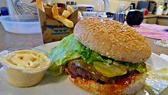 The great Kiwi burger from Burger Fuel (Sandy Austin) Tags: panasoniclumixdmcfz70 sandyaustin massey westauckland auckland northisland newzealand burger burgerfuel fastfood