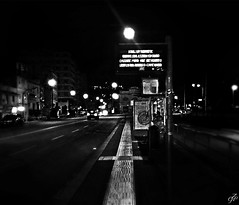 """Next Stop Between Fourteen Minutes"" (giannipaoloziliani) Tags: hdr nero waiting luci perspective shadows busstop lamps fari streetnight centre lights city citynightlife liguria dark darkness buio noire urbannight urbanstreet urban streetphotography billboards genova italy genoacity downtown notte leds neons road headlights cars monochrome night blackandwhite viacanevari iphonephoto"