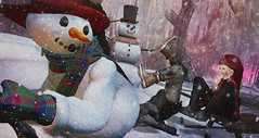 Ringa-Linga-Ding-Dong-Eeekkk!!! (Jinx Jinx) Tags: jinx chelsea snowman frosty sled accident proctology christmas winter snow sl secondlife ps photoshop fun funny humour