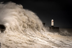 Porthcawl storm (technodean2000) Tags: porthcawl storm high tide south wales uk lighthouse sea coast nikon d610 lightroom evening