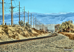 Nov 12 2016 - I'm a walkin' down the line (lazy_photog) Tags: lazy photog elliott photography worland wyoming burlington northern santa fe railroad tracks south big horn mountains power poles lines vanishing focal point 111216thekingridearoundsouthflat
