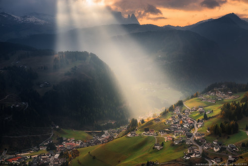 Italy. Dolomites. The light above the village of Santa Cristina Valgardena-2