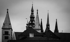 And up (dlerps) Tags: czech czechrepublic daniellerps prague praha sonyalphaa77 lerps prag tschechien sony sonyalpha sigma a77 sonyalpha77 sonya77 europe europa praguecastle roof rooftop bw blackwhite pražskýhrad pražský hrad cathedral chruch up castle monochrome architecture cross stronghold