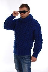 Men`s Hand Knitted Wool SWEATER Thick Fuzzy T-neck Pullover (Mytwist) Tags: mens hand knitted wool sweater thick fuzzy tneck pullover sseu supersweaterseurope fashion style modern exclusive husband wife qx queen aranstyle cabled jeans