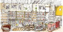 Niort, Librairie des Halles, beaux-arts (Croctoo) Tags: croctoo croquis croctoofr aquarelle watercolor librairie boutique livres bouquins nio poitou poitoucharentes