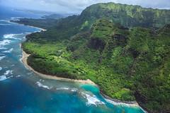 Ke'e Beach :: 2 (Adam Claeys) Tags: shore sea ocean water blue tropical hawaii kauai na pali coast outdoor helicopter heli aerial high sky sun landscape canon 5d