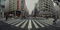 Tokyo 4092 (tokyoform) Tags: tokyo tokio  japo japn  ginza crossing intersection zebra canyon giappone nhtbn tquio           chrisjongkind tokyoform  japanese asia asian city     ciudad cidade ville stadt urban  street  calle rue strase  crowd  foule   people orangbanyak