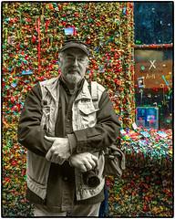NoJuan at the Gum Wall (NoJuan) Tags: selfportrait postalley gumwall iphone selectivecolor selectivedesaturation iphone6 nojuan