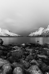 Black & White Fjords (craigmdennis) Tags: snow mountains travelling norway night aurorachasing