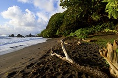 Early Morning on Hamoa Beach (Ken'sKam) Tags: ocean sea sky seascape beach nature clouds hawaii lava sand rocks surf waves driftwood hana tropical hamoabeach lavarocks