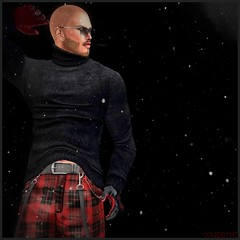 Hazy Shade of Winter (Cole Delpiaz) Tags: red snow black beard goatee bald shades gloves turtleneck suspenders tartan