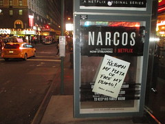 The Latest Narcos AD Escalation 6004 (Brechtbug) Tags: the latest narcos ad escalation bus shelter pile o money stolen removed tv show stop with piles slightly singed real fake or is it 2016 nyc image taken 10012016 midtown manhattan new york city 49th street 7th ave st avenue moola bogus netflix update they stole now there note