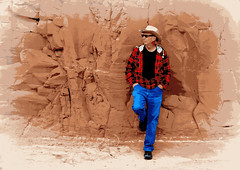 Cowboy Bob poster (SimsShots Photography) Tags: cowboys bluejeans wrangler cattleman ten gallon hat plaid shirt western west wild rancher ranch rocks stones cliff rugged desert sandstone red dude